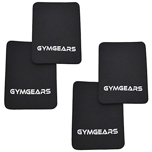 GYMGEARS® Griffpolster [4er Set] Grip Pads 3mm - Profi Neopren Griffpads für Fitness, Bodybuilding & Krafttraining Schwarz - Alternative für Trainingshandschuhe -...