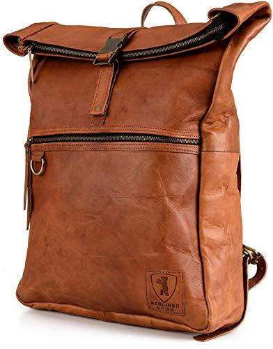 Berliner Bags Rucksack Utrecht XL Kurierrucksack mit Laptopfach aus Leder Fahrradrucksack Trekkingrucksack Damen Herren