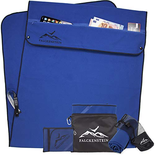 FALCKENSTEIN microfiber towel set • sports towel and sauna towel • gym towels with magnet (red, 145x52 cm + 160x80 cm)