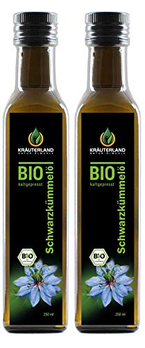Krauterland - organic black cumin oil 2x250ml- 100% pure, filtered, gently cold pressed, Egyptian, vegan - freshness guarantee: daily fresh from the mill straight from ...