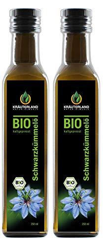 Kräuterland - Bio Schwarzkümmelöl 2x250ml- 100% rein, gefiltert, schonend kaltgepresst, ägyptisch, vegan - Frischegarantie: täglich mühlenfrisch direkt vom...