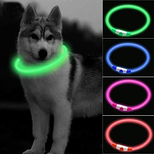 CCWW LED Leuchthalsband für Hunde USB Aufladbar LED Hundehalsband Stück hundehalsband Leuchtend Wiederaufladbares und Längenverstellbareres mit DREI...