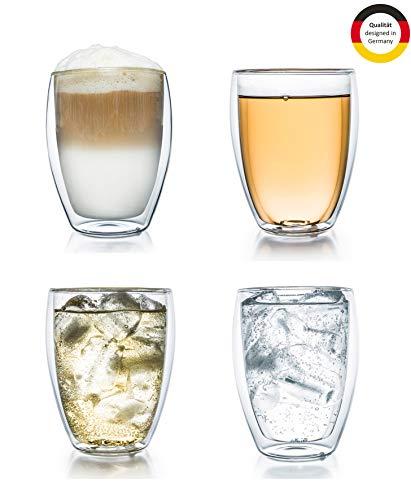 "Creano doppelwandiges Thermoglas 250ml ""DG-Hoch"", 4er Set, großes hitzebeständiges Trinkglas aus Borosilikatglas, Kaffee-/Teeglas"