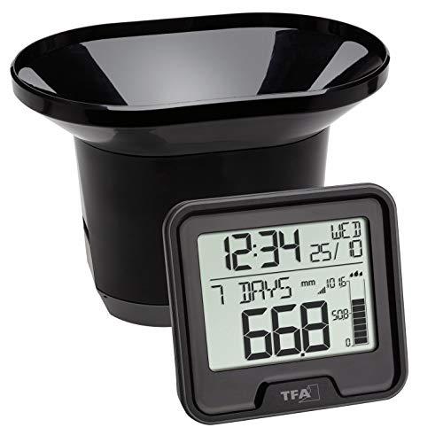 TFA Dostmann Drop Funk-Regenmesser, Niederschlagsmengen leicht ermitteln, kabelose Übertragung, 24h Regenalarm