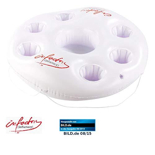 infactory Pool Getränkehalter: Aufblasbarer Getränkehalter im Rettungsring-Design, 7 Halter, Ø 14,5cm (Poolbar aufblasbar)