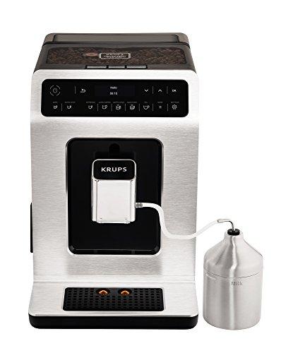 Krups EA891D Evidence Kaffeevollautomat (automatische Reinigung, 2-Tassen-Funktion, OLED-Display, 15 bar, Espresso-Kaffee-Maschine, Kaffeeautomat) metall