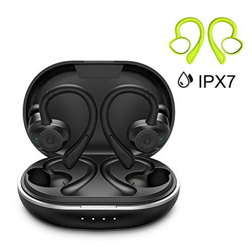 Bluetooth Sport Kopfhörer HolyHigh Bluetooth 5.0 Kabellose Ohrhörer mit Mikrofon Wasserdicht IPX7 6+30H Spielzeit Auto Pairing Siri Aktivierung Stereo...