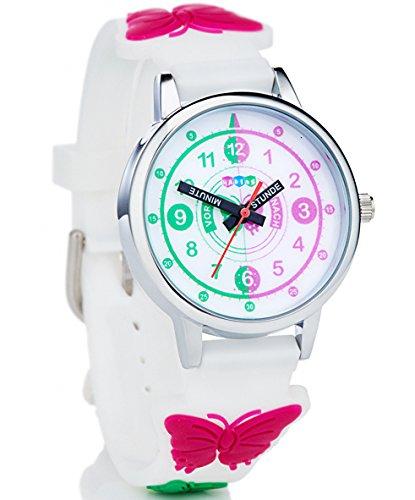 HAPIDS Lernuhr   Zeiger Armbanduhr Kinderuhr   Uhr zum Uhrzeit lesen lernen für Kinder   Mädchenuhr mit Schmetterling-Motiv   Farbe: Weiß & Rosa/Pink