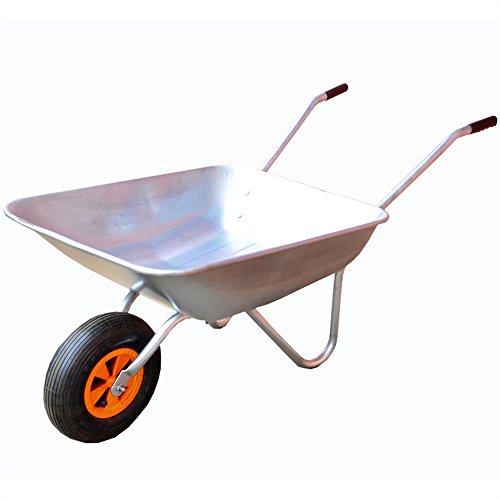 FUXTEC Schubkarre FX-WB5260 mit bis zu maximal 80kg Zuladung und max 60L Fassungsvermögen, Transportwagen aus verzinktem Stahl, ideal als Gartenkarre für ihre...