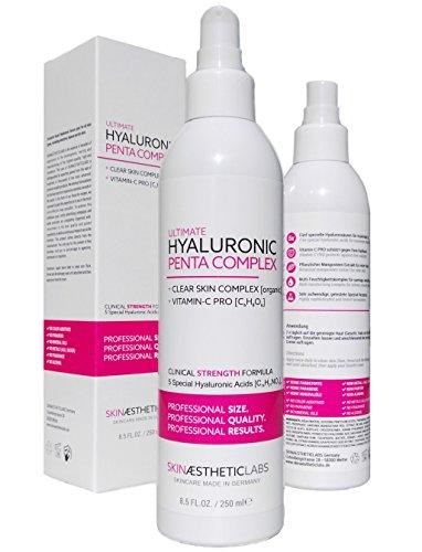 Hyaluronsäure Serum Konzentrat 250 ml • 5-fach Hyaluron • Klinik-Größe • Anti Aging Gel mit Vitamin C Pro • Clear Skin Complex • Hypoallergen • Pflege...