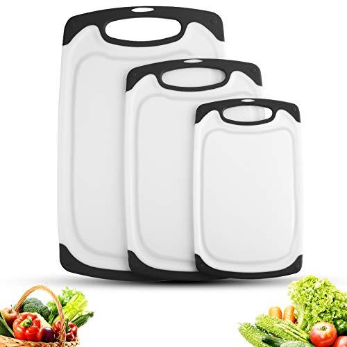 Set 3-teilig Innovatives Schneidebrett,Kunststoff-Schneidebretter, Küchen-Schneidebretter, größere Schneidematte, wendbar, leicht, kein BPA, spülmaschinenfest...