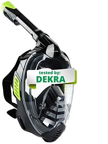 Khroom® Von DEKRA® geprüfte CO2 sichere Schnorchelmaske Vollmaske | bekannt aus YouTube | Seaview X - Schwimmmaske Tauchmaske für Erwachsene & Kinder (Schwarz,...