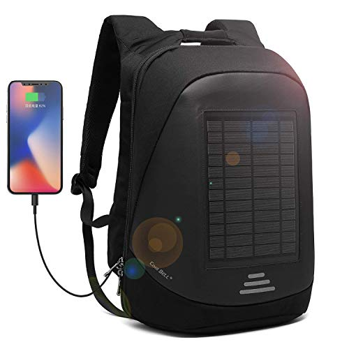 CoolBell Solar Panel Backpack with USB Charging Port City Anti-theft Bag Functional Knapsack Waterproof Outdoor Daypack School Backpack 15,6 Inch Laptop Bag