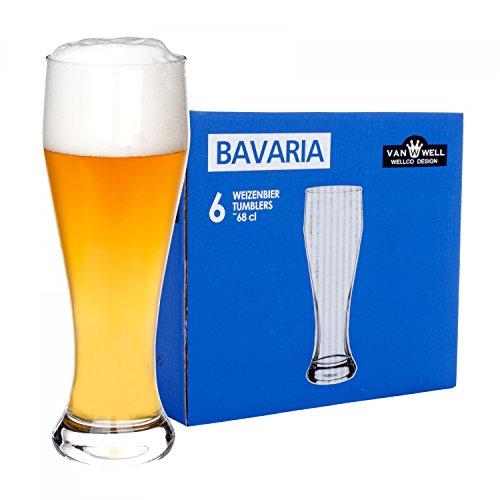 Van Well 6er Set Bavaria Weizenbiergläser klar | Bierglas geeicht bei 0.5L | Weizenglas | Weißbier-Glas | Gastro | Hotel-Restaurant & Bar