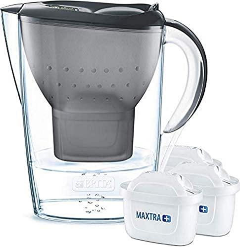 BRITA Wasserfilter Marella graphit inkl. 3 MAXTRA+ Filterkartuschen – BRITA Filter Starterpaket zur Reduzierung von Kalk, Chlor, Blei, Kupfer &...