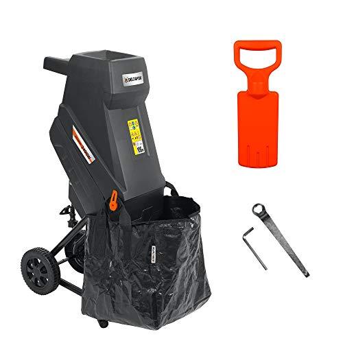DELTAFOX Elektro Messerhäcksler - DG-EKS 2445-2400 W - inkl. 45 ltr Fangsack - 12 kg leicht - Laufräder mit Radabdeckung - Gartenhäcksler für 45 mm Äste -...