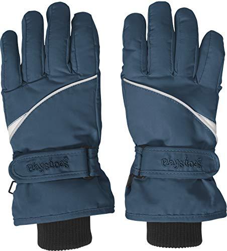 Playshoes Kinder Schnee-Handschuhe mit Thinsulate-Technik Finger Unisex Fingerhandschuhe mit Klettverschluss, marine, 4