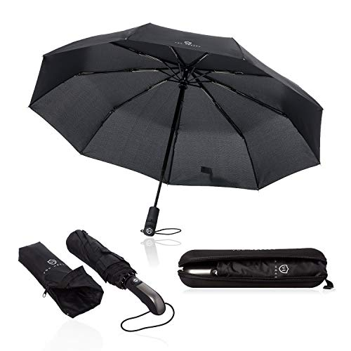 VON HEESEN® Regenschirm sturmfest bis 140 km/h - inkl. Schirm-Tasche & Reise-Etui - Taschenschirm mit Auf-Zu-Automatik, klein, leicht & kompakt,...
