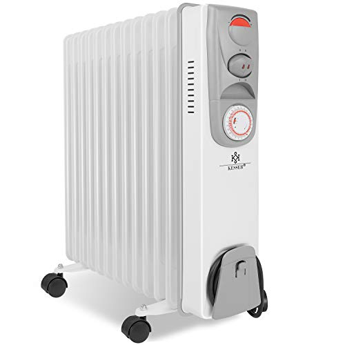 KESSER® Ölradiator - Elektrische Heizung mit 13 Rippen 2500W Öl Radiator Elektroheizung Mobil Timer Lüfter Abschaltautomatik stufenlose Temperaturregelung...