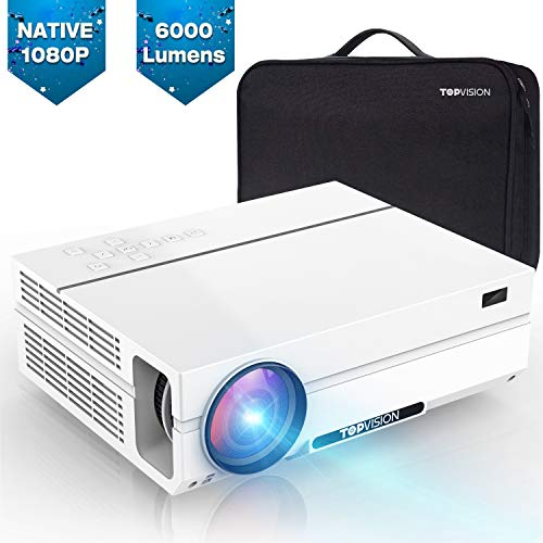 TOPVISION home cinema projector, 6000 lumen video projector with 80.000 hours extended, Native 1080P LCD projector Full HD, 4K 300 '' home / professional projector for ...