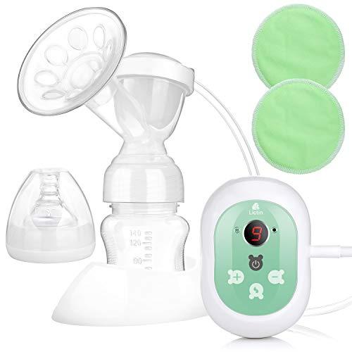Lictin Elektrische Milchpumpe Wiederaufladbare Brustpumpe Einzel Muttermilch Abpumpen mit Massagemodi LED Anzeige CE Zertifizierung BPA frei und ungiftig mit 2...
