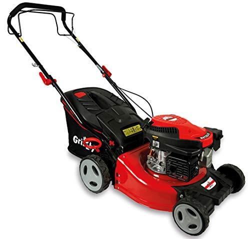 Grizzly Tools Benzin-Rasenmäher mit Hinterradantrieb - 4-Takt Motor 1,9 kW 2,6 PS - 42 cm Schnittbreite 6-fach Höhenverstellung - Wasserschlauchanschluss -...