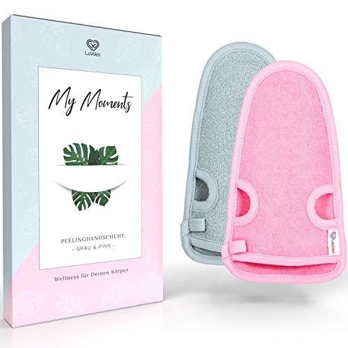 LoWell® 2 Stück Peelinghandschuh - Hamam Peeling Handschuh für Körper und Gesicht - Bonus Peeling Guide und 2 Saugnäpfe - Grau/Pink