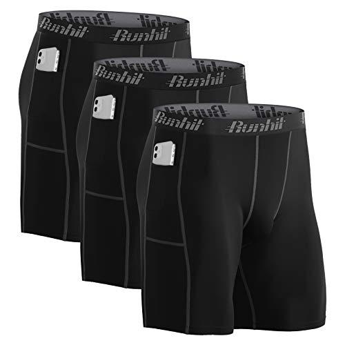 Runhit 3er Pack Herren Kompressionsshorts, Funktionsunterwäsche Stretch Tights Sport Laufhose Herren kurz Radlerhose Herren Boxershorts