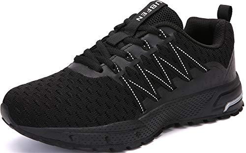 SOLLOMENSI Laufschuhe Damen Herren Sportschuhe Straßenlaufschuhe Sneaker Joggingschuhe Turnschuhe Walkingschuhe Schuhe 43 EU H Schwarz