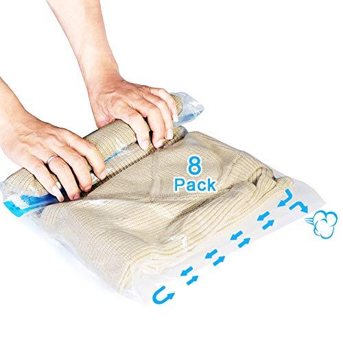AOBETAK Vakuumbeutel Rollen für Kleidung Reise, 8 Pack Vacuum Storage Bags,Vakuumier Beutel Handaufrollen Ohne Pumpe Erforderlich,4 Klein (40x60cm) + 4 groß...