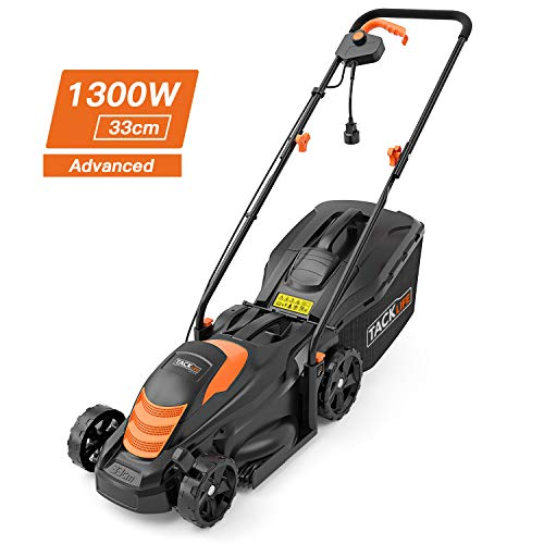 TACKLIFE electric lawn mower, 1300W, 33 cm cutting width, 5 cutting heights (35-75mm), 3 handle heights, double safety switch, 40L catch box - GLM11B