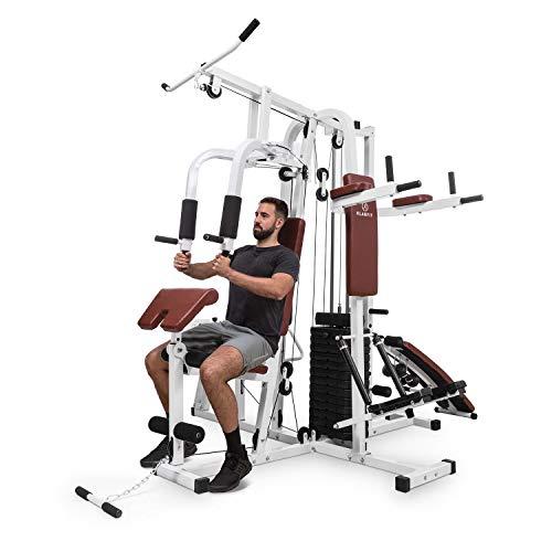 Klarfit Ultimate Gym 9000 Kraftrainings-Station: Diptower, Negativbank, Stepper, Curlstation, Beinpresse, Bruststation & Latzug (mehr als 100 Übungen, für 2...