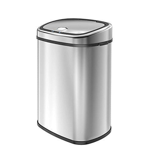 1home Infrarot Küchenabfälle Mülleimer Abfalleimer Automatisch Abfallsammler Kücheneimer Abfallbehälter Sensor Papierkorb mit Hand Bewegungssensor Edelstahl...
