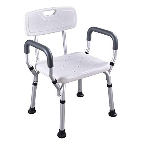 HENGMEI Aluminium Höhenverstellbar Badhocker Duschstuhl Duschhilfe Duschsitz Badsitz Duschhocker für die professionelle Pflege (Modell C mit Armlehne)