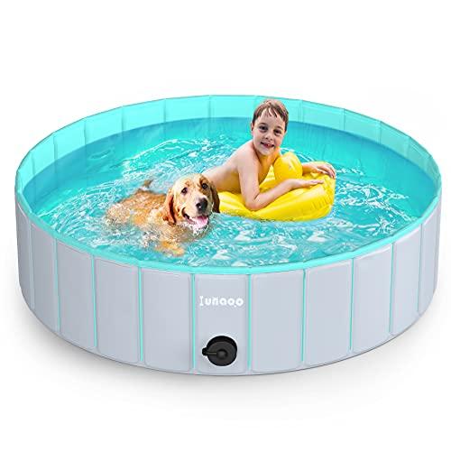 lunaoo Hundepool fur Große Hunde, Faltbare Schwimmbecken Hundebadewanne Hund Planschbecken für Kinder und Hunde, Tragbar & Eco-Friendly PVC Hunde Pool 80cm / 120cm...