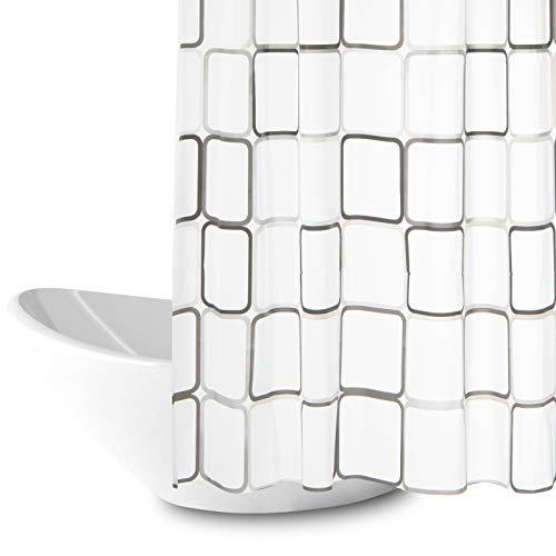 Duschvorhang, Anti-Schimmel Wasserdichter 180x200cm Waschbar Anti-Bakteriell Stoff Polyester Badewanne Vorhang mit 12 Duschvorhängeringen, Weiß Transparent...