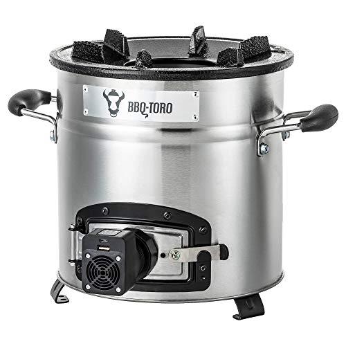 BBQ-Toro Raketenofen Rakete #3 | Edelstahl Rocket Stove fr Dutch Oven, Grillpfannen und vieles mehr | + USB Geblse