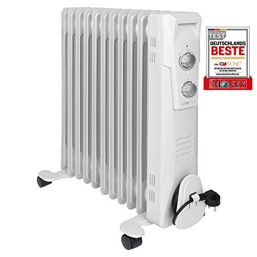 Clatronic RA 3737 11 Rippen-Ölradiator, mobiler Heizkörper bis 2300 Watt, Wärmeregulierung über stufenlosen Thermostatregler, Flexibler Einsatz durch 4...