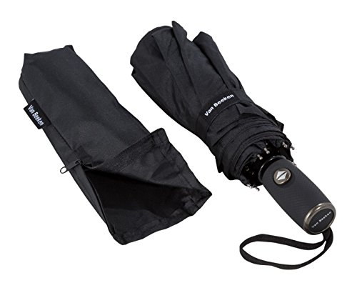 Umbrella pocket umbrella - VAN BEEKEN - windproof storm-proof 140 km / h small light compact - stable umbrella with on to automatic, 95cm black