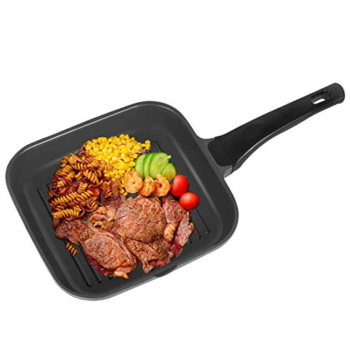OZAVO grill pan, steak pans BBQ, 24x24x4.5cm non-stick, induction suitable for all hobs and ovenproof