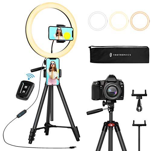 Ringleuchte 12 Zoll/30.5 Zentimeter, TaoTronics Selfie Ringlicht mit 3 Farbmodi, Einstellbare Helligkeit, Ausziehbares Stativ, 2 Handy Halter, Bluetooth...
