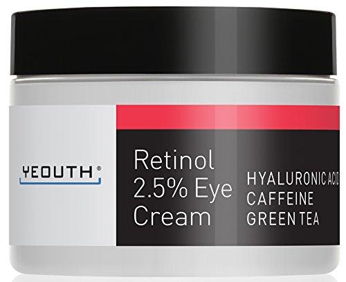 Retinol Augencreme 2,5% von YEOUTH verstärkt mit Retinol, Hyaluronsäure, Koffein, Grüner Tee, Anti-Falten, Anti-Aging, straffe Haut, gleichmäßiger Hautton,...