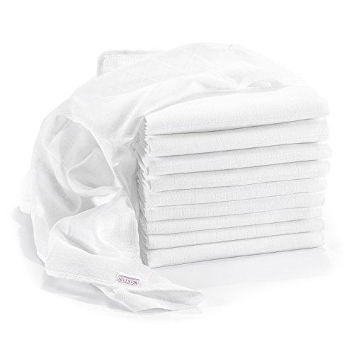 Mullwindeln/Spucktücher - 10er Pack, 80x80 cm, ÖKO-TEX zertifizierte Premium Qualität - doppelt gewebte Stoffwindeln/Mulltücher mit verstärkter Umrandung,...