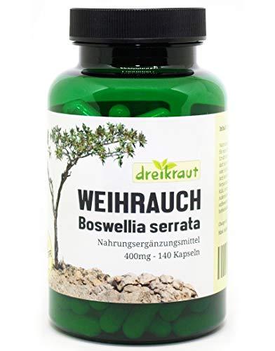 Weihrauch-Kapseln 400mg, Boswellia Serrata, 140 Stück, hochdosiert, ohne Zusätze - 1600mg je Tagesdosis - rückstandsgeprüft, 100% Indischer Weihrauchextrakt, 65%...