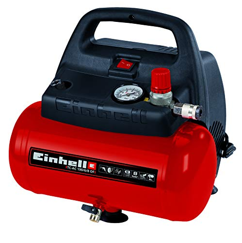 Einhell Compressor TC-AC 190 / 6 / 8 OF (1.100 W, max 8 bar, oil / service free engine, 6 liter compressed air tank, manometer, quick coupler, safety valve, handle)