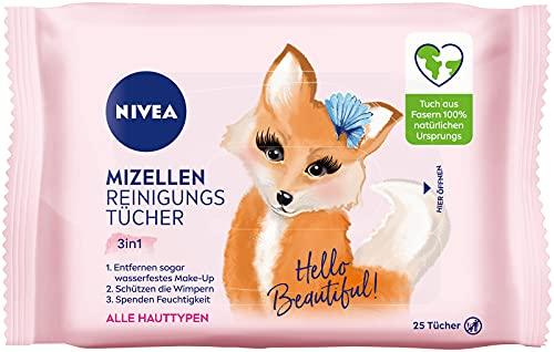 NIVEA 3in1 Hey Beautiful! Mizellen Reinigungstücher (25 Stück), sanfte Gesichtsreinigungstücher mit Vitamin E, Abschminktücher entfernen Make-Up & wasserfeste...