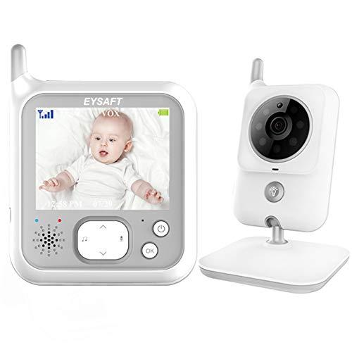 EYSAFT baby monitor with camera video baby monitor 3.2 inch baby monitor with talk back and temperature monitoring, night vision camera, lullabies, night vision, intercom function ...