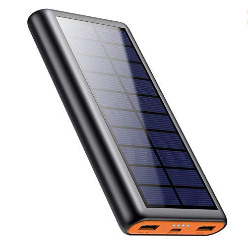 QTshine Solar Powerbank 26800mAh, Externer Akku Ladegerät, Solar Power Bank Pack mit 2 Ausgängen speziell für Aktivitäten im Freien, kompatibel mit Allen...