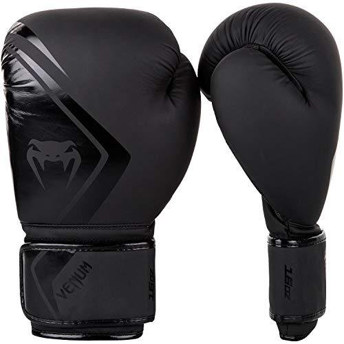 Venum Contender 2.0 Boxhandschuhe, Schwarz/Schwarz, 12 Oz