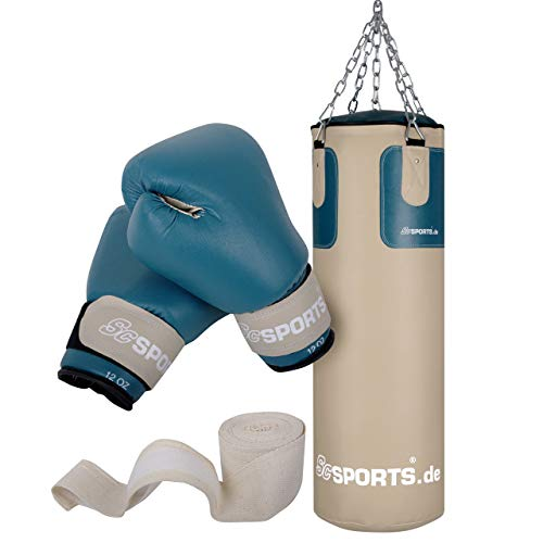 ScSPORTS Boxsack-Set mit Boxsack 25 kg, inklusive Boxhandschuhen, Boxbandagen und 5-Punkt-Stahlkette, beige/petrol
